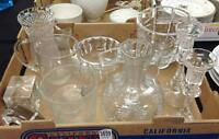 12 PCS ESTATE CRYSTAL GLASSWARE INCLUDING 5 VASES, 2 PITCHERS, 2 CLO... Lot 3859