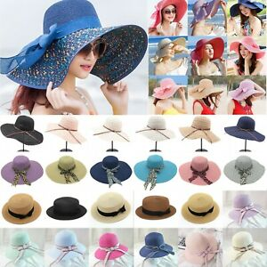 dead8e91208f6 Womens Wide Brim Beach Sun Hat Floppy Holiday Folding Cap Lady ...