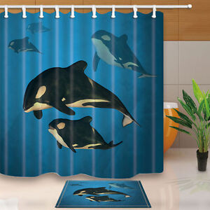 Details About A Family Of Orca Whales Swimming In The Ocean Shower Curtain Fabric 12Hooks