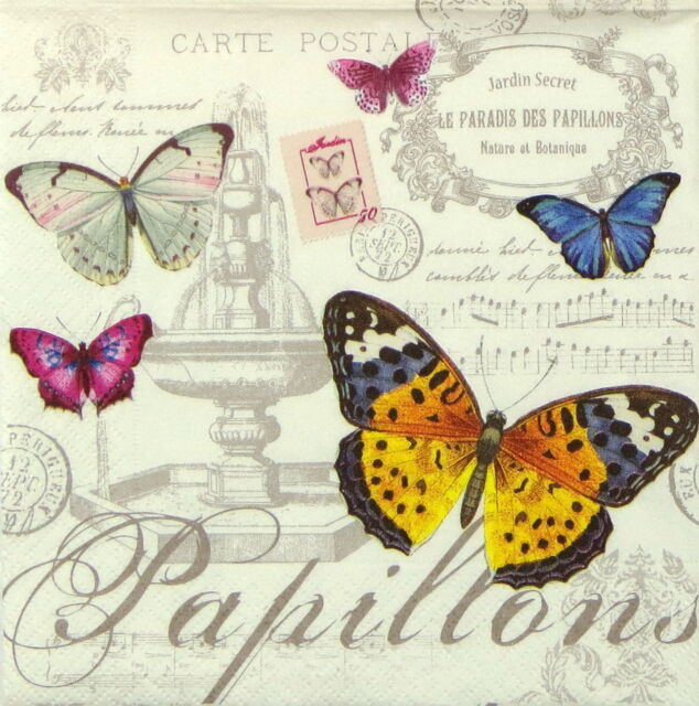 4x Paper Napkins - Vintage Papillons - for Party, Decoupage