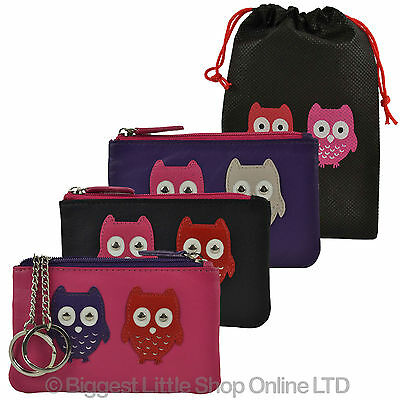 NEW Ladies Small LEATHER Coin PURSE WALLET by Mala; Kyoto Collection Cute OWLS