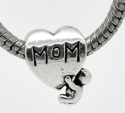 Mom Charm Mum Mummy Mother Child Heart Charms Bead For Silver Charm Bracelets