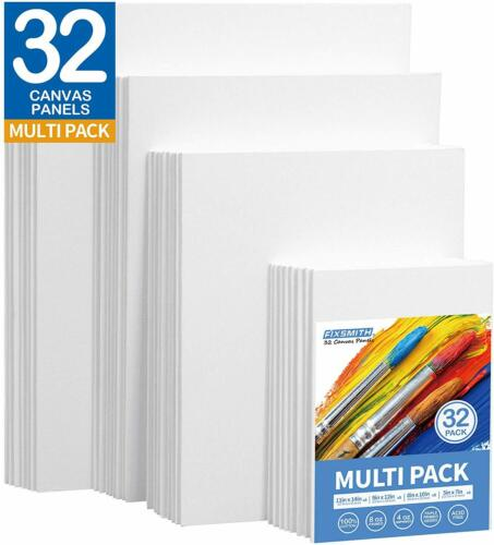 Painting Canvas Panels Multi Pack ,Set of 32 8 of Each 5x7,8x10,9x12,11x14