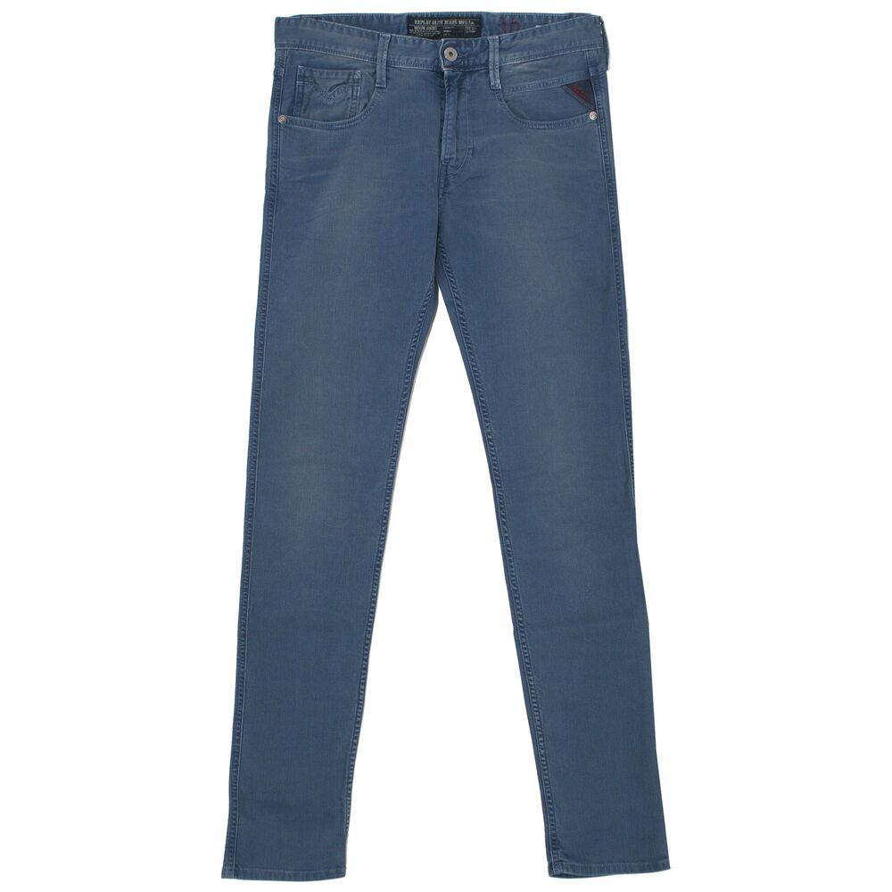 21807 Replay Homme Jeans Pantalon Anbass M914e Slim Stretch Blue Gris Bleu