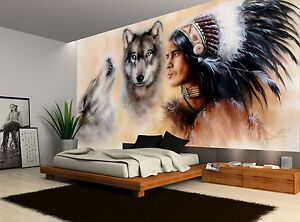 Image Is Loading Native American Wolves Vintage Wall Mural Photo Wallpaper
