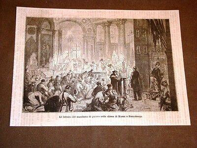 Guerra Russia vs Turchia nel 1877 Manifesto guerra Chiesa di Kazan a Pietroburgo