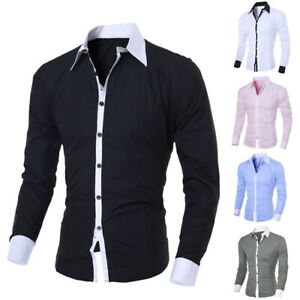 Fashion-Personality-Men-039-s-Casual-Slim-Long-sleeved-T-Shirt-Tops-Blouse-M-2XL-New