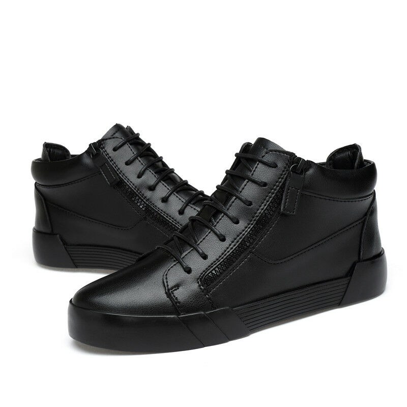 Fashion Men Casual shoes Leather Zip Velvet Increasing Height 6cm Abkle Sneaker