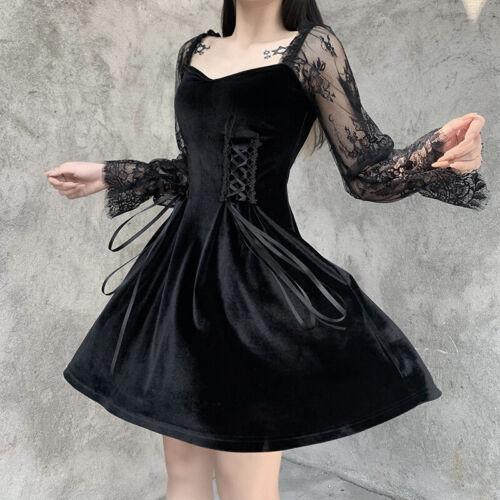 Womens Gothic Black Velvet Lace Long Sleeves Square Neck Lolita Dress Slim Skirt