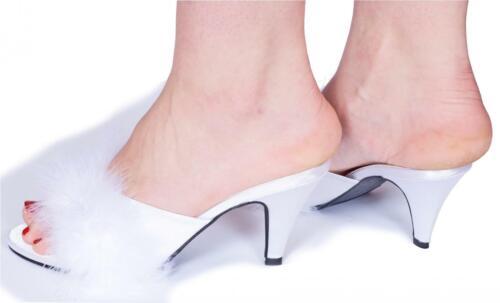 """Short Blanc Talon Satin Moelleux Pantoufles UK 3.5/"""" 4 5 6 7 8 Femme"""