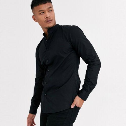 Only /& Sons Mens Grandad Collar Shirt Poplin Long Sleeve