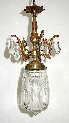 GroßZüGig Antik Französische Messing-kristall-glas Kronleuchter, Lüster 1 Flammig