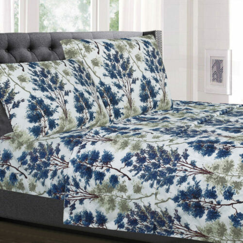 Florence Blue//Green Floral 4-Piece 1800 Thread Count Sheet Set