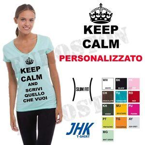 T-shirt-donna-collo-a-V-personalizzata-con-Keep-Calm-and-tua-scritta