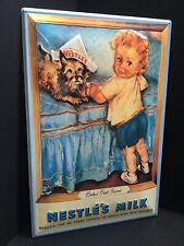 XXL Blechschild 60x40 cm Nestle Baby mit Storch 3D geprägt Give the Babys Food