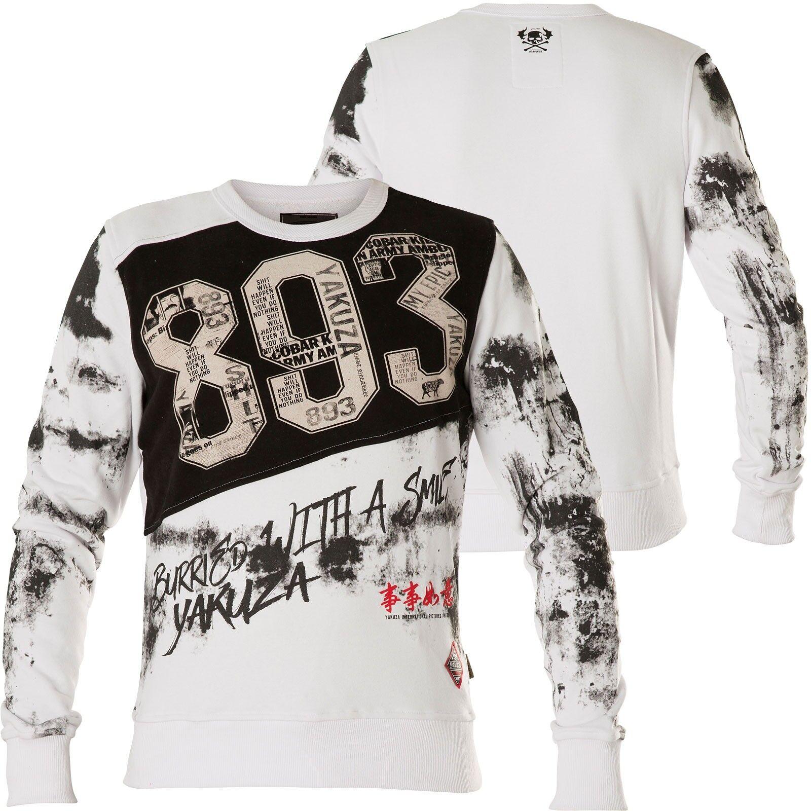 YAKUZA Sweatshirt Burried Jumper PB-13015 Weiß Weiß Sweatshirts