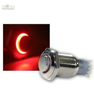 Edelstahl-Drucktaster-Taster-Klingeltaster-Klingelknopf-LED-beleuchtet-rot