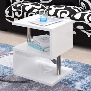 Details About Panana White Coffee Table Side End Coffee Table High Gloss With Blue Led Light