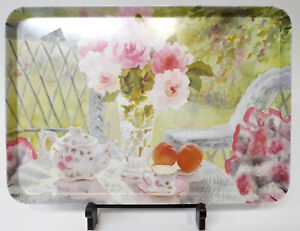 "Beautiful Italy Melamine Tray Tea Pot Crystal Vase Roses Peaches 17.5"" x 12"""