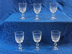 Set-of-6-Vtg-Crystal-Glass-Cordial-Goblets-Vertical-Lines-Hex-Stem-3-5-034-Tall