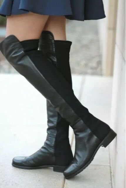 Knee Stretch Leather BOOTS Size 4.5