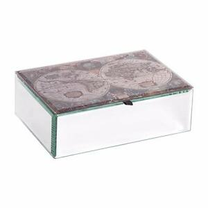 Mirrored Map Of The World.Mele Co Map Of The World Glass Mirrored Trinket Box Jewel Case