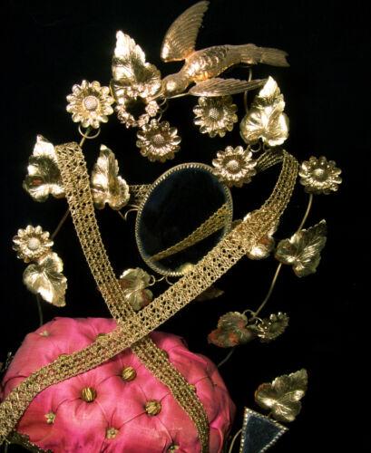"""Antique vintage gold metal trim net braid lace passementerie tape ribbon 3//4/""""BTY"""