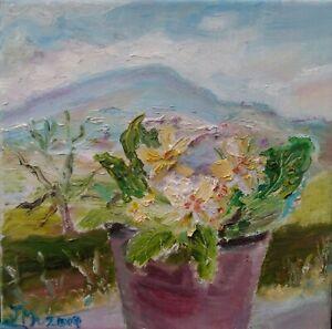 ORIGINAL-SIGNED-Impressionism-Primula-Penhill-OIL-PAINTING-Yorkshire-DALES