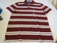 Men's Tommy Hilfiger Polo shirt stripe logo 7869998  Cabernet 627 burgndy XL NWT