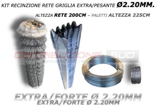 KIT RETE GRIGLIA EXTRA//PESANTE FILO 2.20MM FILO ZINCATO 14 PALETTI ZINCATI