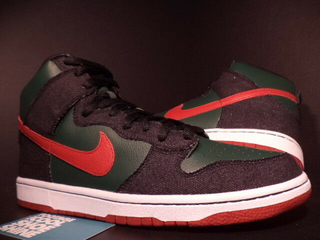 2009 Nike Dunk High FOREST Premium SB RESN DENIM FOREST High GREEN PAPRIKA RED 313171-362 10 4e0b29