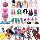 Kids/Adults Trolls Moana Harley Quinn Snow White Cosplay Wigs Halloween Lot