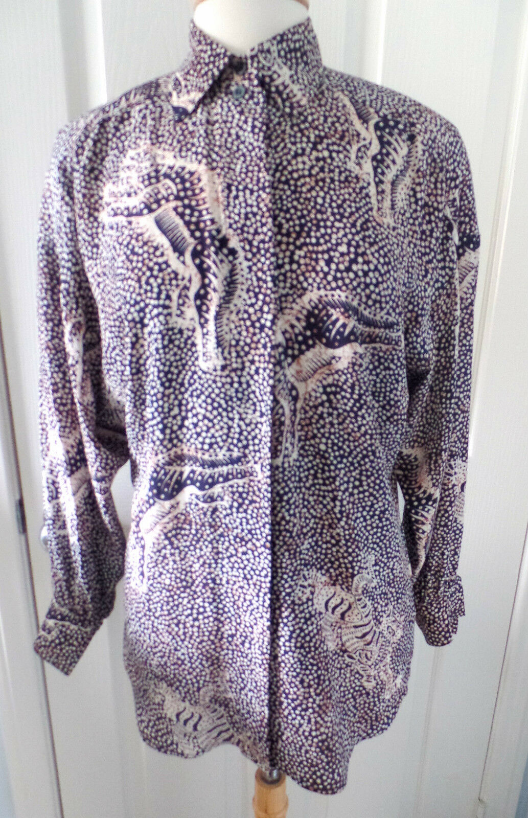Vintage ESCADA BY MARGARETHA LEY Navy Tiger Silk Blouse SZ 34