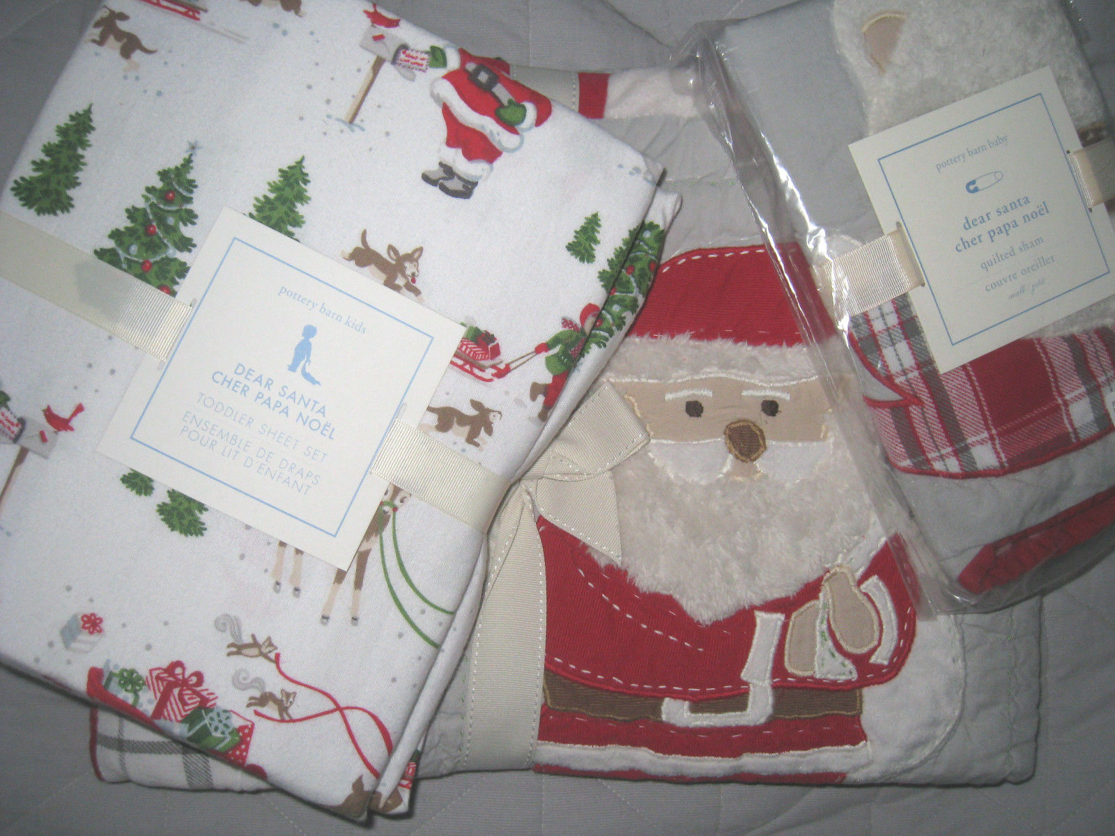 POTTERY BARN Kids Dear Santa Nursery Bébé Berceau Couette + Drap Set + Sham