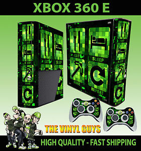 Xbox-360-E-Eat-Schlaf-Mine-Repeat-Minecraft-Creeper-Stil-Skin-amp-Polster-Huelle