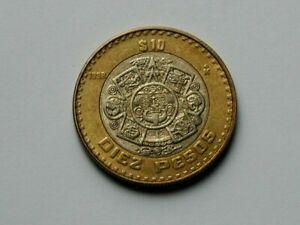 Mexico 1998 $10 PESOS Bimetallic Coin AU+ with Toned-Lustre & Eagle Bird