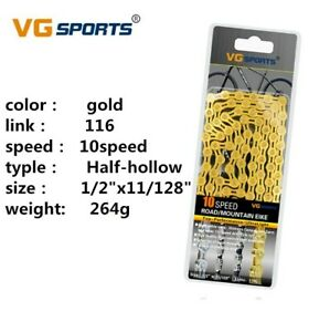 VG Sports Gold 10 Speed Bicycle Chain Half-Hollow 116L Road Mountain Bike Chain