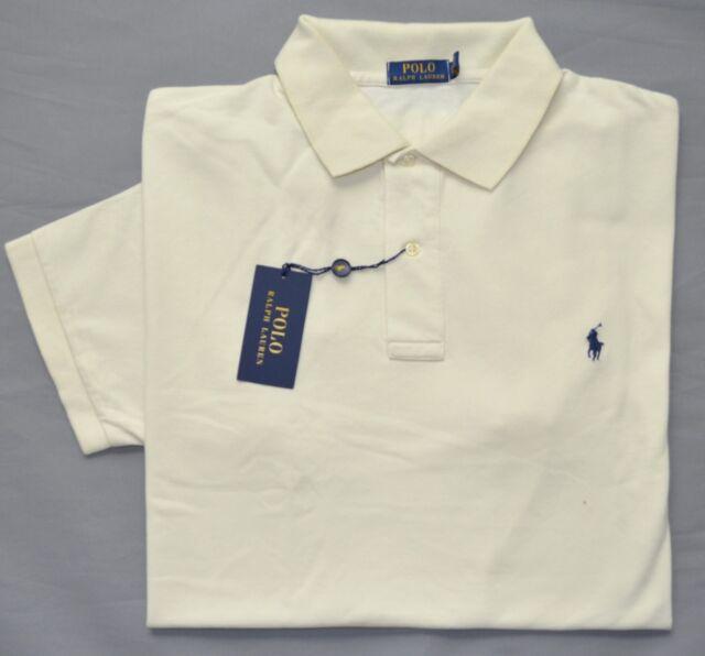 New 2XLT 2XL TALL POLO RALPH LAUREN Mens short sleeve polo shirt cream top  2XT 2758df04c5