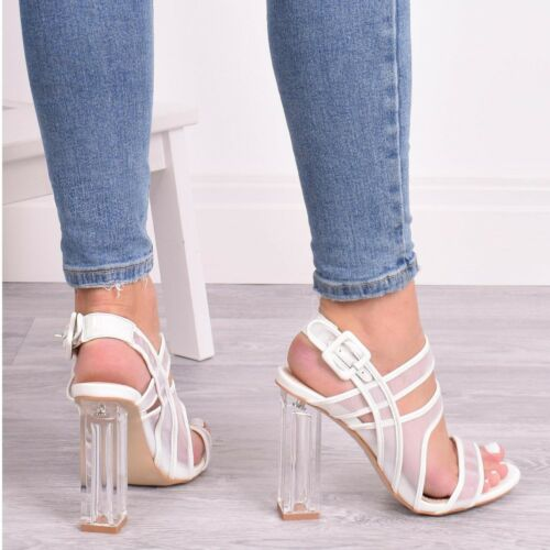 Ladies Women High Heel Perspex Buckle Sandal Strappy Summer Party Shoes Size 3-8
