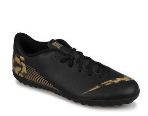 Dettagli su Scarpe da calcetto uomo NIKE Mercurial Vapor 12 Club TF nero e oro AH7386 077