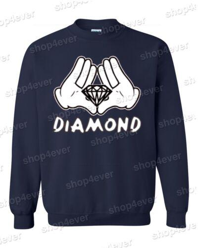 Diamond Cartoon Hands Crewneck Illuminati Cool Graphic Novelty Fun Sweatshirts