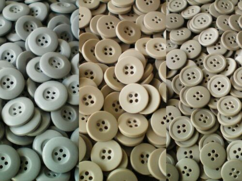Buttons Beige 19mm Brown 15mm Grey 23mm 4 Hole Joblot Pack 10no.