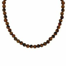 """Silver 4mm GENUINE TIGER EYE STONE BEAD NECKLACE 16"""""""