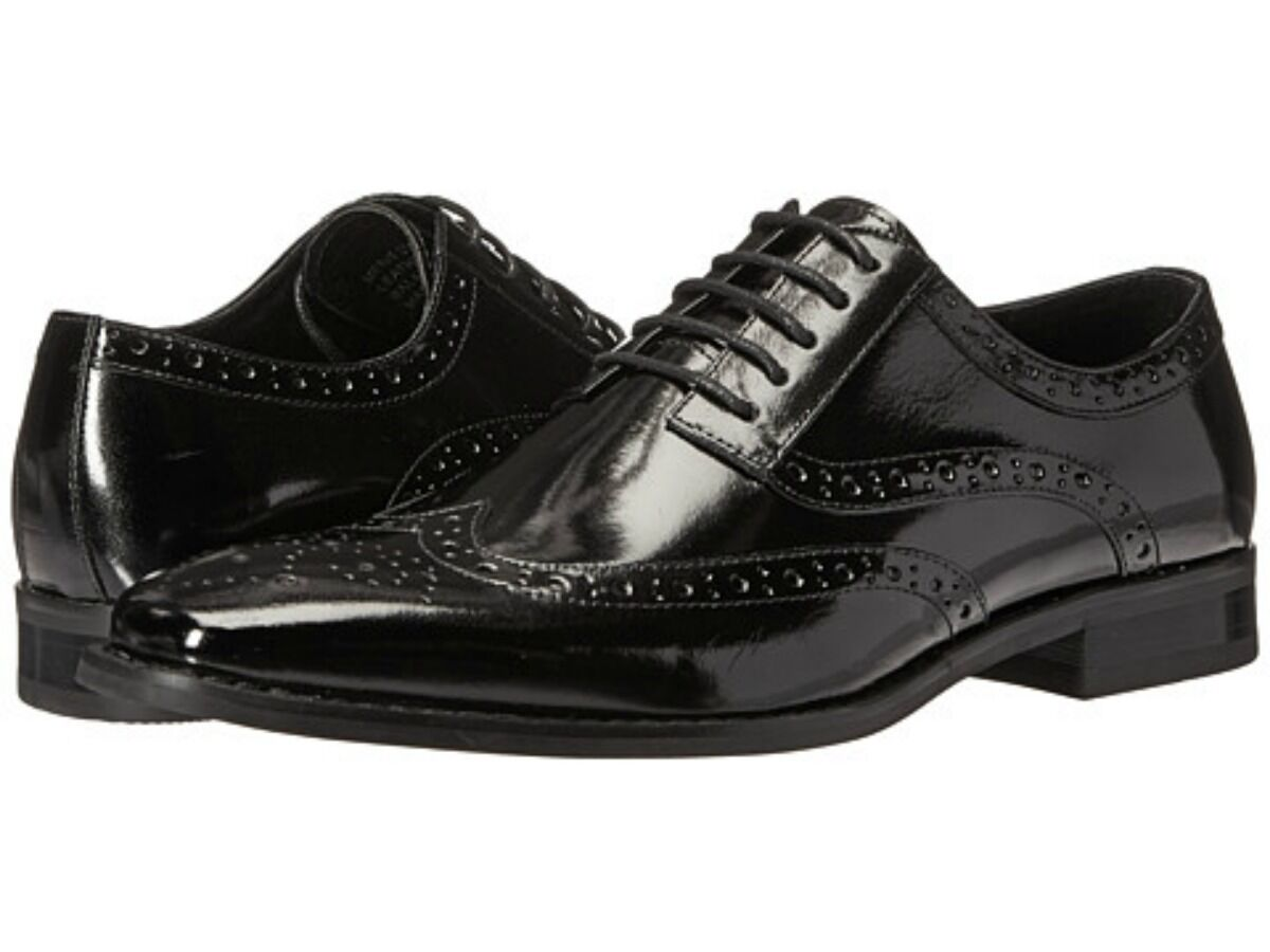 New Stacy Adams Mens Tinsley Wingtip Oxford Dress shoes Black Leather 25092-001