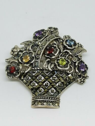Sterling Silver Brooch Flower BasketPendant Combo 925 Sterling Silver Marcasite Setting with Emerald Ruby and Sapphire Gem Stones