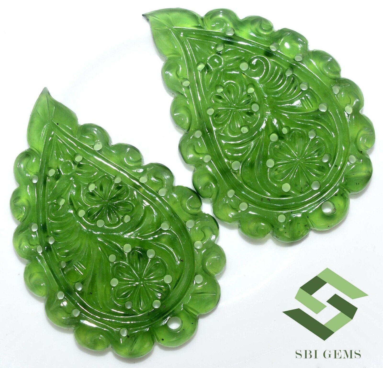 Natural Serpentine fait à la main Sculpture Paire 39x30 mm 69.11 cts loose Gems