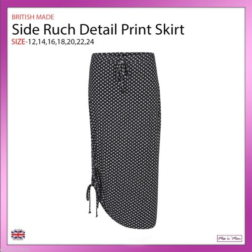 New Ladies Black /& White Spotted Print Ruched Tube Skirt Plus Sizes 12-24