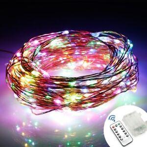 100-LED-Draht-Lichterkette-Batterie-Weihnachten-Deko-Mit-Fernbedingung-RGB-10M