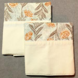 Linens-Pillowcase-VINTAGE-Standard-UTICA-Floral-Orange-Multi-Pair-Lot-of-2