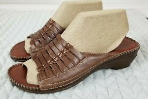 Auditions Women's Sandals 9M Brown Leather Casual Low Heel Slip On Hand Stitched